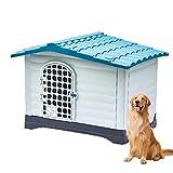 PPGE Home Caseta Perros Exterior Grande, Casa para Perros Grandes Exterior de Plástica, Caseta Perro Exterior Impermeable, Casa Perro Exterior, Caseta de Perro Resina, con Puerta(Color:Azul)