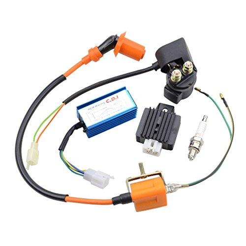 GOOFIT Hochleistung Zündspule Relais Tuning CDI Zündkerze und Spannungsregler Gleichrichter Ersatz für 110cc Dirtbike ATV Motorrad