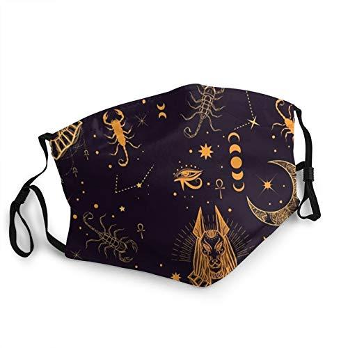 ZVEZVI ?gyptischer Gott Anubis Scorpion Gesichtsschutz wiederverwendbar, waschbares Tuch, Gesichtsschutz, Paar bequeme waschbare Maske