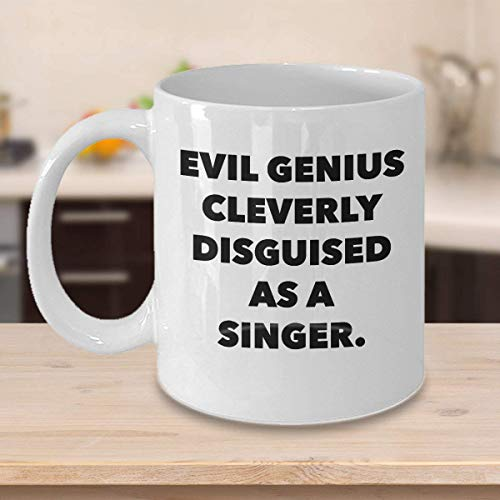 N\A Divertida Taza de caf para Cantante Los Mejores Regalos Personalizados con Nombre Personalizado para msicos, animadores vocalistas, Genio Malvado inteligentemente Disfrazado