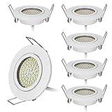 Lot de 6 spots LED encastrables ultra plats en blanc avec seulement 20mm de profondeur d'encastrement 75mm – Lot de 6 spots de plafond avec ampoule LED intégrée 5W 430lm AC 220V,Blanc chaud 3000K