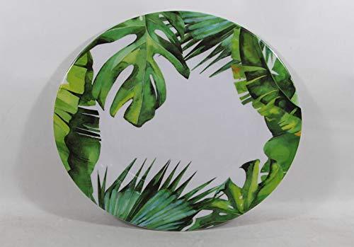 "Set of 4 All For You Melamine Dinner Plates Green Leaves Everyday Use Dinner Dishes Set (10.5"")"