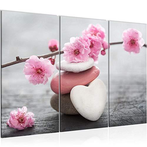 Bilder Feng Shui Blumen Wandbild 120 x 80 cm Vlies - Leinwand Bild XXL Format Wandbilder Wohnzimmer Wohnung Deko Kunstdrucke Rosa Grau 3 Teilig - MADE IN GERMANY - Fertig zum Aufhängen 500131a