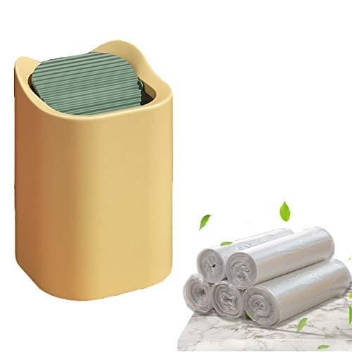 Tangger Mini Bote de Basura y 150 Bolsas de Basura para Coche Dormitorio Escritorio,Bote de Basura de Escritorio con Tapa