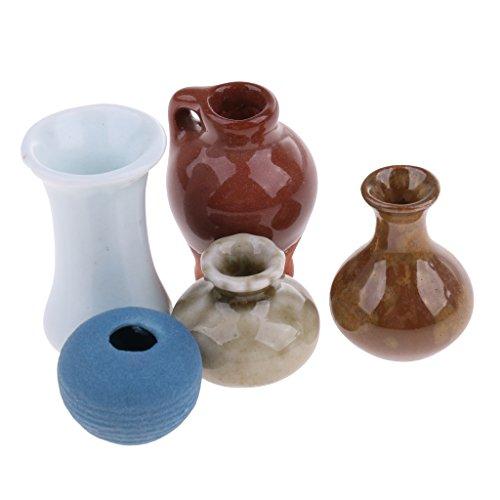 5 Stück 1/12 Puppenhaus Dekeration - Miniatur Vase Blumenvase Porzellanvasen - 5 Stil