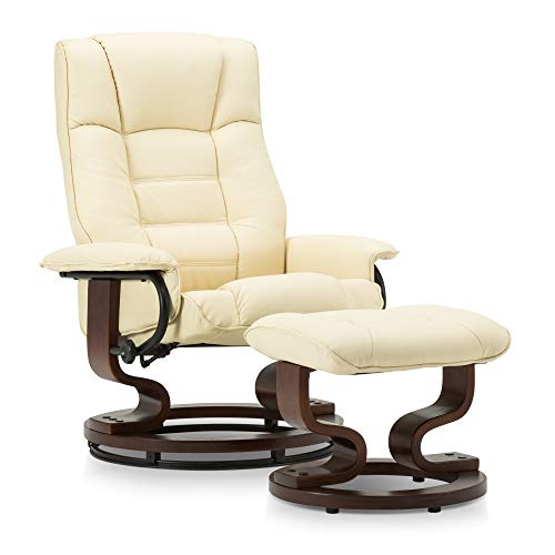 Mcombo Swiveling Recliner Chair with Wrapped Wood Base and Matching Ottoman Footrest, Furniture Casual Chair, Faux Leather 9019 (Cream White)
