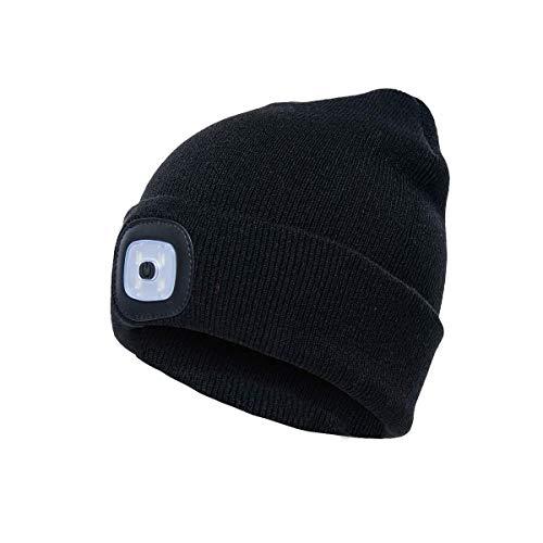 HXHDBAO Cadeaux pour Hommes, LED tricoté Chapeau léger Bonnet Chaud Bonnet Hommes et Femmes Trois légèreté Couleur Unie Stretchy & Soft vélo Camping randonnée en Plein air Coiffe Rechargeable