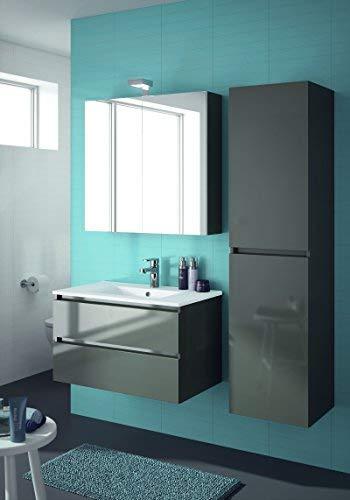 ALLIBERT Badmöbel-Set Badmöbel vormontiert Softclose-Funktion grau Spiegelschrank Waschtisch 80 cm