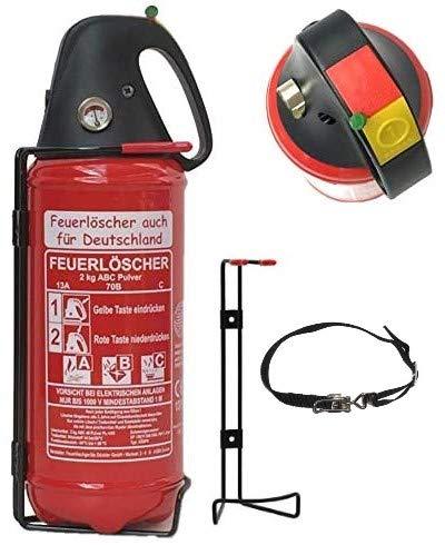 2kg Autofeuerlöscher Pulverlöscher Feuerlöscher mit verstellbarem Spanngurt LKW PKW KFZ DIN EN 3 Manometer Halterung ABC 4LE (Ohne Prüfnachweis u. Jahresmarke)