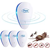 Repelente Ultrasónico, 4 Pack Plagas Control Interiores Repelente Ultrasónico de Plagas, Electrónico Ahuyentador Alta Potencia, para Interiores Mosquitos, Moscas, Ratones 100% Inofensivo para Humanos