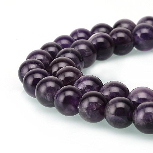 Amethyst Crystal Gemstone Loose Beads Natural Round 4mm Purple Energy Stone Healing Power for Jewelry Making (4mm, Purple Amethyst)