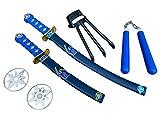 Rubber Johnnies Ensemble d'armes de ninja, jouet en plastique, déguisement, tortues, armes, accessoire, épées de samouraï, combattants urbains