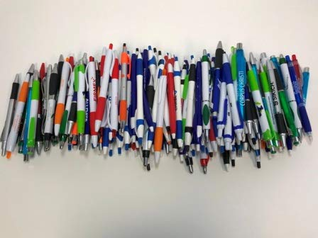 Closeouts For Less 175 Lot Misprint Ink Pens, Ball Point, Plastic, Retractable