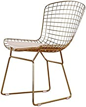 LANNY Gold Wire Metal Chair with White Cushion