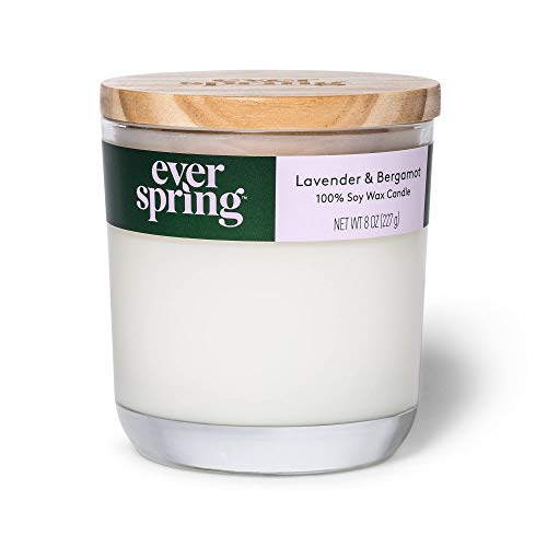 EVERSPRING Large Lavender & Bergamot 100% Soy Wax Candle - 8 oz
