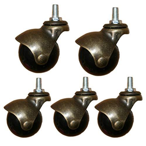 Accesorios para el hogar Silla de oficina Ruedas de bola Ruedas 2 '48 mm Muebles antiguos Ruedas giratorias Bronce frotado con aceite Instalación silenciosa de varilla de inserción M8 / M10 para so