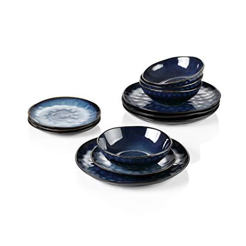 NXYJD Cena Set Vintage Look Azul Cerámica Azul de 12 Piezas Vajilla de Madera Conjunto con Placa de Cena, Placa de Postre, tazón