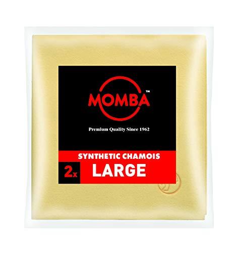Momba® Peau DE Chamois SYNTHÉTIQUE L Lot de 2 – particulièrement appropriée pour Le Nettoyage des vitres et Autres Surfaces Lisses (Brillantes). Qualité Professionnelle