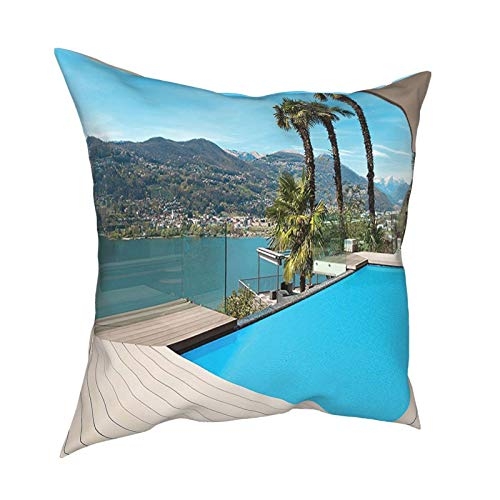 Cap Hat House Decor Collection Modern House Beautiful Patio with Pool Outdoor Wooden Deck Timber Residence 12'X12' 16'X16' 18'X18' 20'X20' Pillow- No Inserts Included