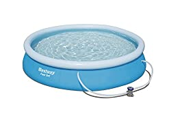 366 cm/12 Inch inflatable fast set pool with filter pump - quick to inflate and easy to store (12 x 30 Inch/3.66 m x 76 cm) Heavy-duty extra strong PVC and polyester 3-ply side walls - makes for a durable and reliable pool Quick and easy to assemble ...