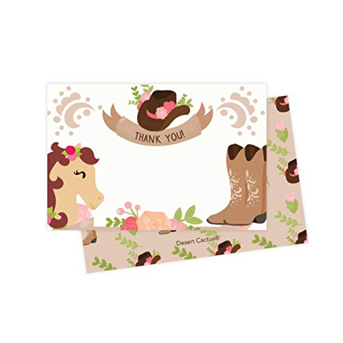 Cow Girl Horse Thank You Cards (25 Count) With Envelopes and Seal Stickers Bulk Birthday Party Bridal Blank Graduation Kids Children Boy Girl Baby Shower (25ct)