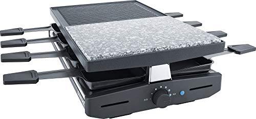 Steba RC 58 Multi-Raclette | hochwertige Natursteingrillplatte zum fettarmen Grillen | Antihaftbeschichtete Grillplatte aus Alu-Druckguss | 8 antihaftbeschichtete Pfännchen für leichte Reinigung