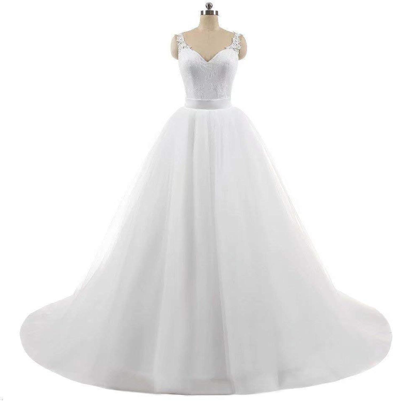 Women Lace Embroidered Wedding Ball Gown Long Prom Evening Dress Zipper Closure