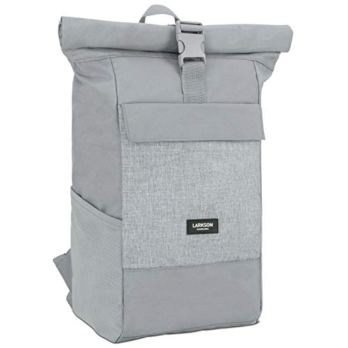 Roll Top Backpack Womens & Mens Grey - Larkson No 4 Daypack Made from Recycled PET Bottles - College Laptop Bag 15.6 Inches - Water-Repellent