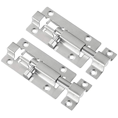 2 Pack Barrel Bolt, Upgrade 3 Inches Slide Latch Lock, Thickened Stainless Steel Slide Lock for Door, Brushed Finish Sliding Door Latch with 12PCS Screws to Keep You Safe and Private