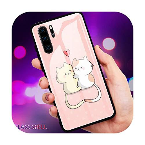 Lindo gato de dibujos animados teléfono caso de vidrio para Huawei P30 Lite 20 Por P9 10 Honor 8 X 9 10 NOVA 5 Cover-a4-For mate20 lite