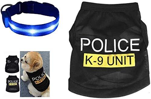 Police Dog Disfraz Tamaño Pequeño Chaleco Y Luces Azules de Emergencia LED Intermitente Collar K9 Unidad 999 Perro Policía Abrigo Disfraz Disfraz de Disfraz