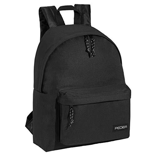 PEDEA Rucksack Daypack Wasserabweisend Damen Herren Mädchen Jungen Kinder Schule Uni Reisen Job mit Fach für 13,3 Zoll (33,8cm) Laptop, 24L Schwarz