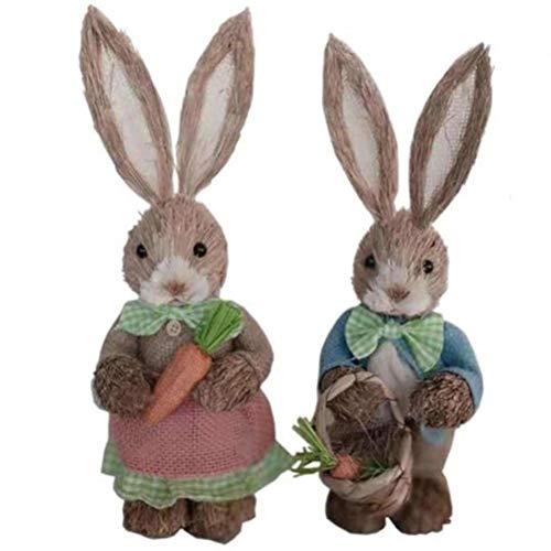 2 piezas de decoración de figuras de conejito de pascua, simulación de paja de conejo conejito decoración de pascua adornos adornos de decoración lindos para la decoración de la oficina en casa