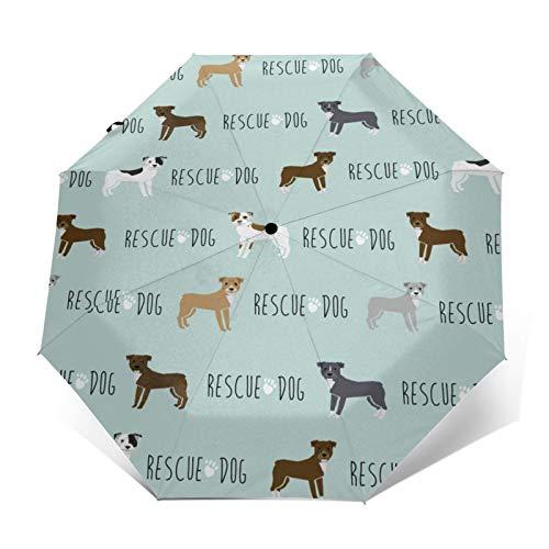 Pitbull Rettungshund, blau, automatisches Öffnen/Schließen, tragbar, dreifach faltbarer Regenschirm, wasserdicht, langlebig, faltbar