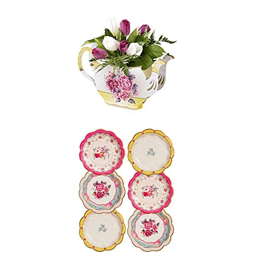 Talking Tables Truly Scrumptious Teapot Vase Floral Centerpiece and Afternoon Vintage Tea Party Plates