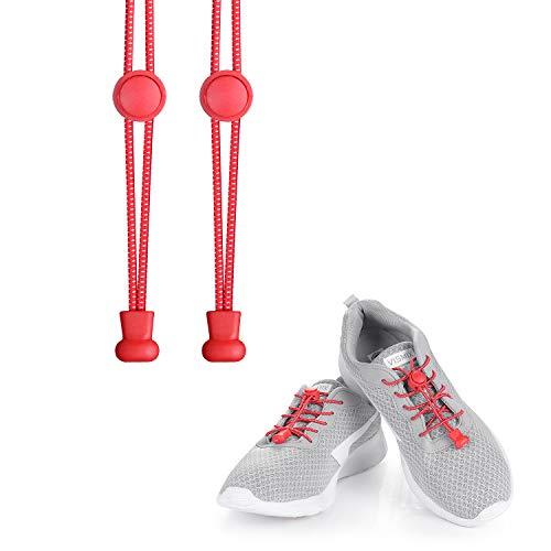 KATELUO cordones zapatillas,Cordones elásticos sin nudos para zapatillas,para Maratón y Triatlón Atletas,Corredores,Niños, Ancianos,Discapacitado (Rojo)