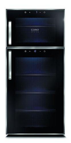 CASO WineDuett Touch 21   Weinkühlschrank für 21 Flaschen Rotwein   2 Zonen mit eigener Tür 7-18°C, LED, Touch, 7 Böden, getöntes Glas, schwarz