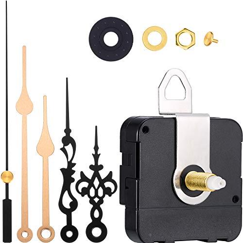 Movimiento de Cuarzo 2 Pares de Agujas Mecanismo de Movimiento de Reloj de Pared Reemplazos de Piezas de Reparación de Reloj (Conjunto de Colores 3, Longitud de Eje 1-1/5 Pulgada/ 31 mm)