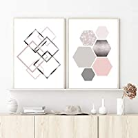 Blush Pink Gray Silver Geometric Abstract Painting Canvas Poster Bedroom Wall Art Prints Pictures Living Room Decor 40x50cmx2 Unframed gifts