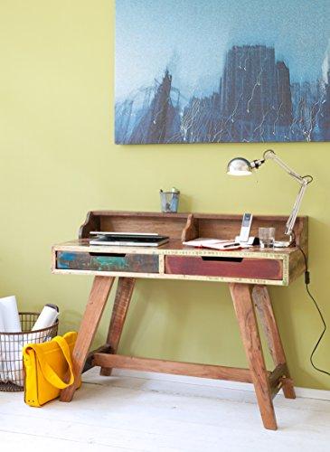 SalesFever® Holz-Schreibtisch, Mehrfarbig, 2 Schubladen, Büromöbel aus recyceltem Holz, (BxTxH) 120 x 55 x 90 cm, massiver Computertisch