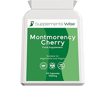 Montmorency Cherry Capsules - 90 x 1500mg Max Strength - Freeze Dried Extract - Promotes Healthy Joints and Uric Acid Levels - Premium Sour Tart Cherry Tablets - Natural Sleep Remedy Supplement