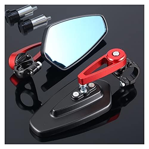 para Honda Forza 125 Cbr1000Rr Plomo Varadero Xl1000 Cb600F Transalp 600 Espejo Retrovisor Lateral del Extremo del Manillar De La Motocicleta Compatible Espejo De Motocicleta (Color : Red)