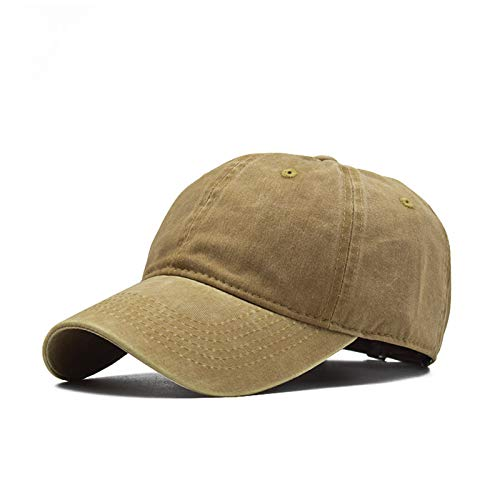 Gorra de béisbol Ligera de Color sólido para Lavado de Padres e Hijos Gorra de béisbol con Costuras Masculinas Lavado para Adultos de Color Caqui Ajustable