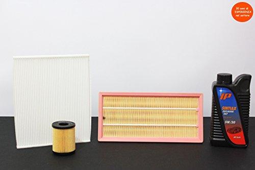 3 filters (lucht- en oliefilter) + 4 liter olie