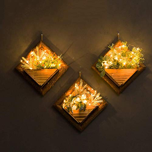 XHH 3 Piece Set Wall Hanging Wood Plant Flower Pot Stand Retro Rustic Style Decor,with Warm White Lights and Plants,B(+Plant)(Portable Shelf)