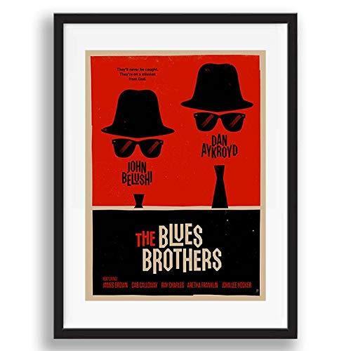 Box Prints Blues Brothers Film Vintage retrò Film Poster Stampa Artistica con Cornice Immagine incorniciata