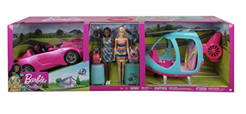 Barbie Girls Getaway Adventure with 2 Dolls, Helicopter, Car and 11 Accessories