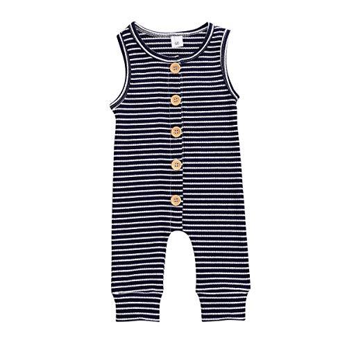 LUCSUN Mameluco de algodón para recién nacido, diseño de rayas, sin mangas, informal, de verano, para bebé