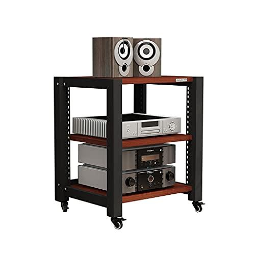 Rodillo de Soporte de Audio televisor Componentes de Soporte de Medios Multi-Capa Soporte de Audio Soporte de Altavoz 2/3/4 Capa (Color de Teca) (Size : S2)
