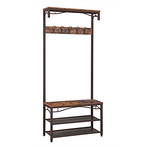 VASAGLE Industrial Coat Rack 3-in-1 Hall Tree Entryway Shoe Bench Coat Stand Storage Shelves Accent Furniture Metal Frame Large Size